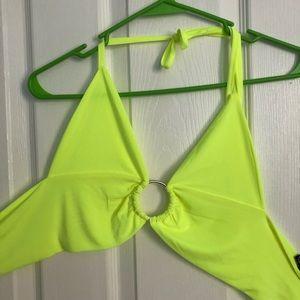 Neon yellow tie halter top